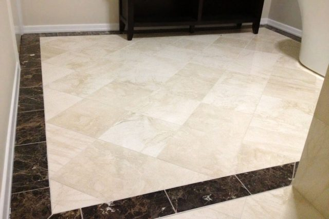Travertine and Emperador Dark Marble 1